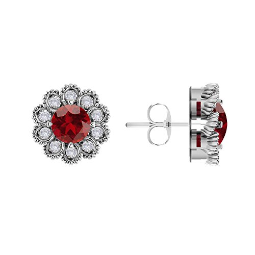 (Solid Sterling Silver Round Shaped 10mm 0.80 Carats Earrings for Women, Round Shaped Garnet and White Topaz Earrings, High Polished Rhodium Plated Stud Earrings for Women)