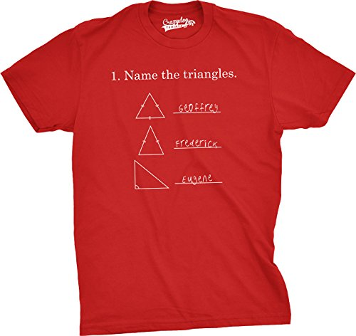 Crazy Dog TShirts - Mens Name The Triangles Funny Math T Shirts Sarcasm Novelty I Love Math Tee For Guys (Red) - 5XL - herren - 5XL