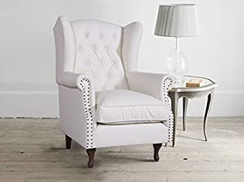 Accent Wing Chair In Warm White Bonded Leather And Stained Studs 32 60 X 29 X 39 40 Canada Wide No Tax Events