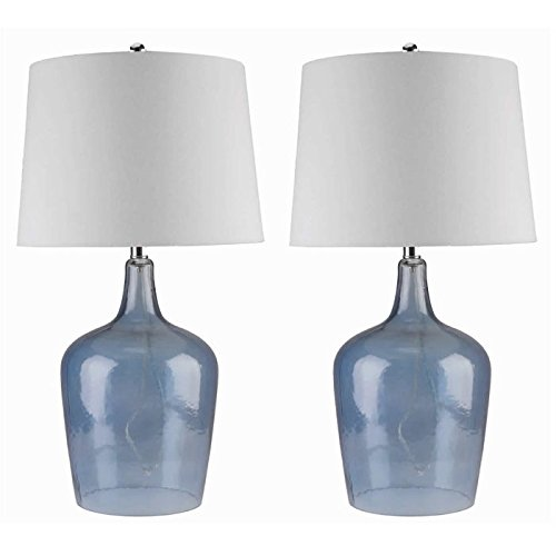Table Lamp / Desk Lamp,Contemporary Azure Blue Glass Table Lamp SP-3024-BLU-2PCK in Stainless Steel Finish, Set of 2 by Abbyson Living