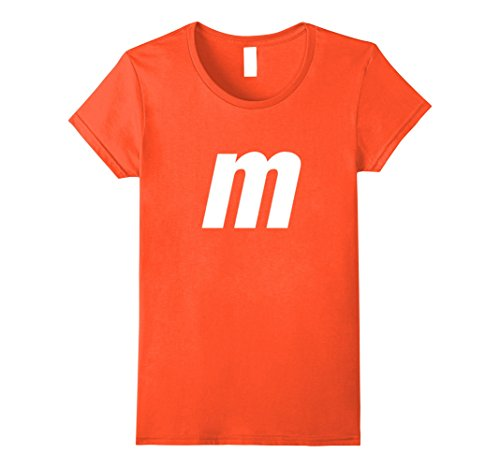 Womens M Letter Halloween Candy Costume T-shirt Small (Orange M&m Costume)