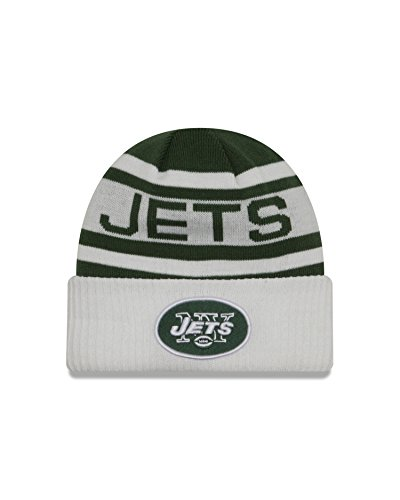NFL New York Jets Biggest Fan 2.0 Cuff Knit Beanie, One Size, White