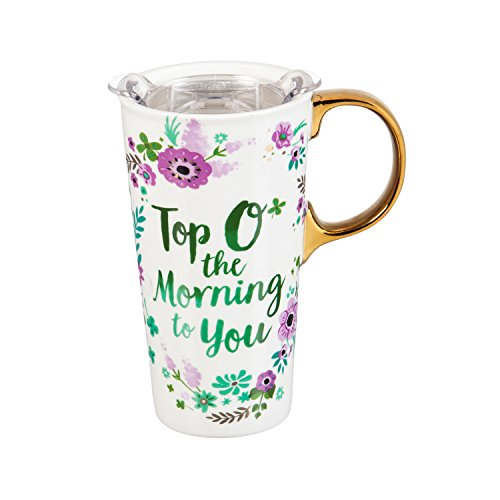 Cypress Home Top O' The Morning Saint Patrick's Day Ceramic Travel Coffee Mug with Gift Box, 17 ounces