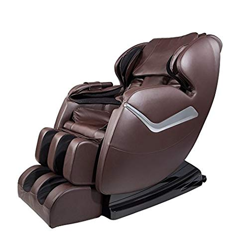 Full Body Zero Gravity Real Relax Shiatsu Massage Chair Recliner with Heat and Foot Roller, Brown