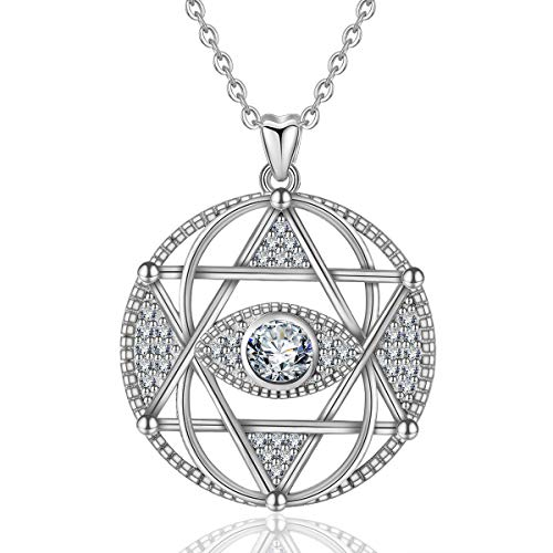 (INFUSEU Sterling Silver Evil Eye Star of David Pendant Necklace Vintage Circular Cubic Zirconia Jewelry)