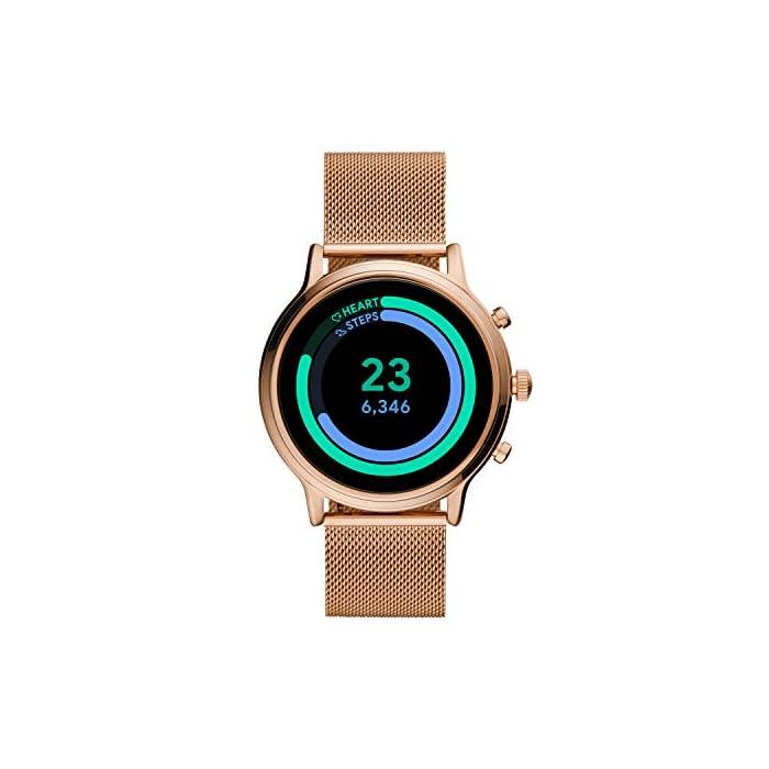 417pJ846uBL Los smartwatches que funcionan con la tecnología WearOS by Google funcionan con teléfonos iPhone1 y Android Funciona varios días con una carga de batería ampliada Seguimiento de actividad y frecuencia cardíaca, GPS incorporado para seguimiento de distancias, diseño apto para nadar