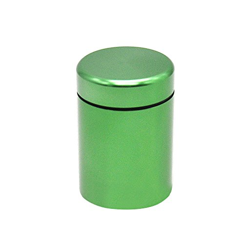 Stash Jar - Airtight Smell Proof Durable Multi-Use Portable Metal Herb Jar Container. Waterproof Aluminum Screw-top Lid Lock Odor -Green