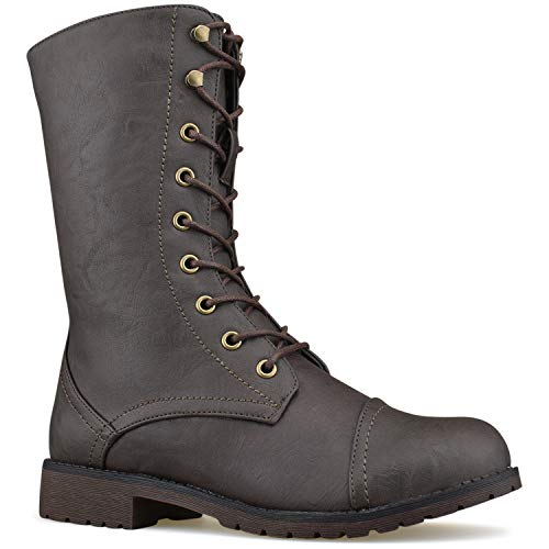 L11 Lace Ankle Booties Buckle Premier Combat Boots Brown Knee Military Mid Exclusive up Pu Standard High Women's qqpaF
