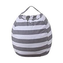 Kingfansion Kids Stripe Stuffed Animal Plush Toy Storage Bean Bag Soft Pouch Stripe Fabric Chair Extra Large organizer storage box Bean Bag (Gray)
