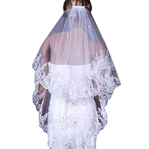 Two Layer Lace Tulle Silver Sequins Bridal Veil Wedding Veil with Comb From Mily White
