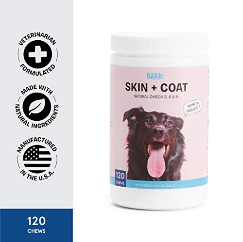 BarkBox Veterinarian-Formulated Dog Skin & Coat Supplement for Healthy Shiny Skin & Coat - Made in The USA - with Omega 3, 6 & 9-120 Chews/Treats