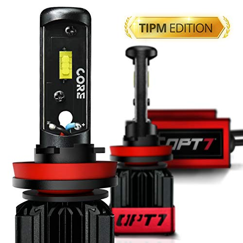 OPT7 Fluxbeam CORE H11 H8 H9 H16 LED Headlight Bulbs TIPM Resistor Kit w/FX-7500 CREE Chip Plug-N-Play Conversion Kit for Dodge Ram Jeep Chrysler 6000LM 6000K White -Built Not Bought- 1 Year Warranty