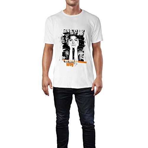 SINUS ART® Collage mit schöner Blondine und Typographie Herren T-Shirts in Weiss Fun Shirt mit tollen Aufdruck