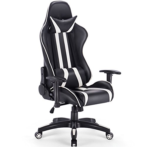 Giantex Gaming Chair Racing Reclining Chair W Lumbar