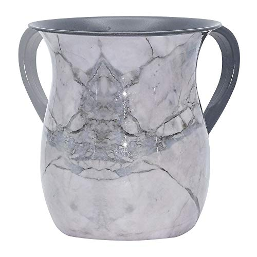The Kosher Cook Stainless Steel Netilat Yadayim Cup - Grey Stone Painted Design - Looks Like Ceramic - Rust, Break and Crack Proof Negel Vasser Cup - Judaica Gift - Ceramic Wash Cup