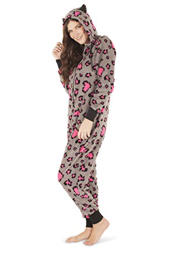 Totally Pink Women's Warm Cozy Plush Onesie Pajama (Medium, Pink Grey Leopard) -