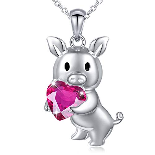- Birthday Gifts 925 Sterling Silver Cute Animal Jewelry Pink Cubic Zirconia Love Heart Pig Pendant Necklace for Women Girls, 18