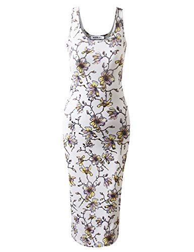 (JJ Perfection Women's Scoop Neck Slim Fit Sleeveless Stretchy Tank Midi Dress CREAMFLORAL XL)