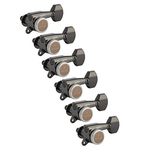 Chrome Locking Tuner - Gotoh Magnum Lock-Trad 6-In-Line Guitar Tuners, Cosmo Black