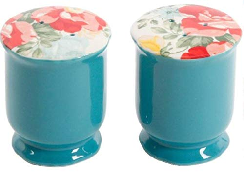 The Pioneer Woman Vintage Floral Ceramic Salt and Pepper Shaker Set,red, white, green