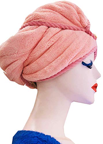 (Microfiber Hair Towel Hair Drying Towel Boris & Minis Hair Towel Wrap Turbie Twist Hair Towels for Women Hair Towel Wrap Quick Magic Hair Dry Hat- Reduce Hair Drying Time(Pink) )