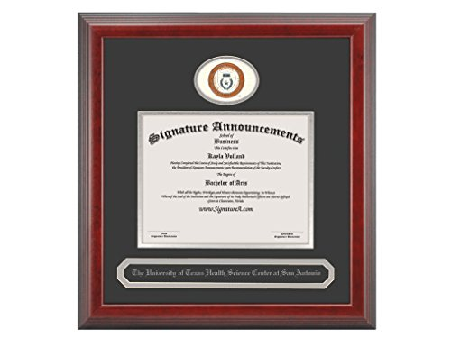 Texas San Antonio Seal (Signature Announcements University-of-Texas-Health-Science-Center-At-San-Antonio Undergraduate Sculpted Foil Seal & Name Diploma Frame, 20 x 20, Cherry)