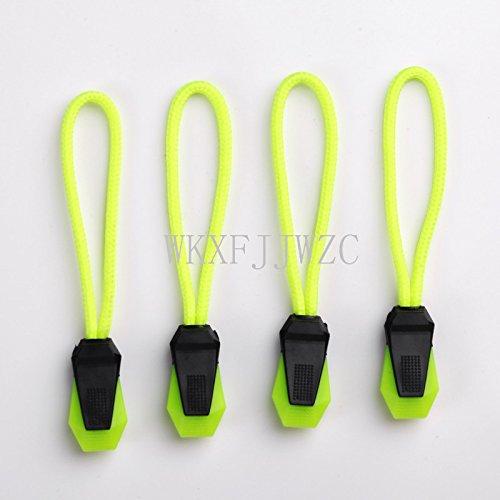 WKXFJJWZC Pack of 60pcs Zipper Pulls Fits/zipper Fixer Zipper Cord Zipper Extension Zipper tag Replacement,10 Colors (Fluorescent green)