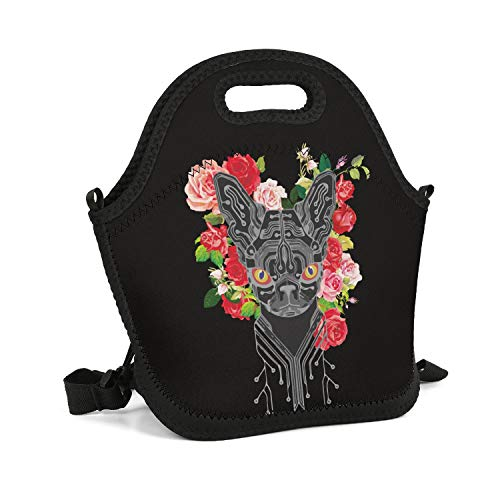 SHIWERJHC Circuit Cat and Roses Neoprene Lunch Tote Breathability Insulated Thermal Reusable Lunch Bag Box for Women Men Child School Work Outside Picnic