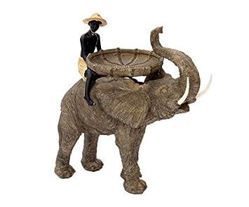 Brillibrum Design Große Deko Figur Reiter Auf Elefant Dekoration  Afrika Figur Safari Skulptur Mit