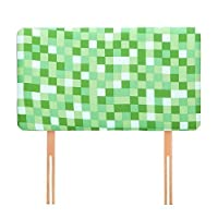 Ready Steady Bed Green Pixels Design Children's Single Headboard 3ft Bed Size Foam Upholstered