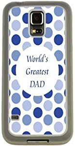 Rikki KnightTM Worlds Greatest Dad Blue Polka Dot Design Samsung? Galaxy S5 Case Cover (Clear Rubber with Bumper Protection) for Samsung Galaxy S5 i9600