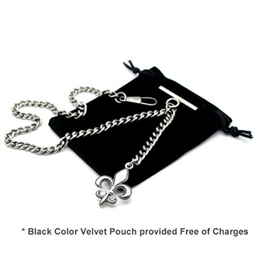 Albert Chain Pocket Watch Curb Link Chain Antique Silver Color Fleur-de-lis Emblem Fob T Bar AC49 by watchvshop (Image #1)
