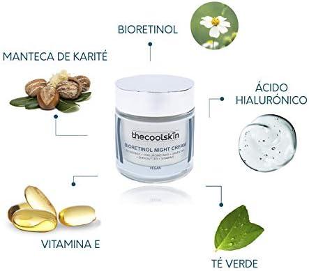 100% Natural y Vegana. Crema de noche Bio retinol Ácido Hialurónico Manteca de Karité Vitamina E. Antioxidante Antiedad Menos Manchas50ml Thecoolskin