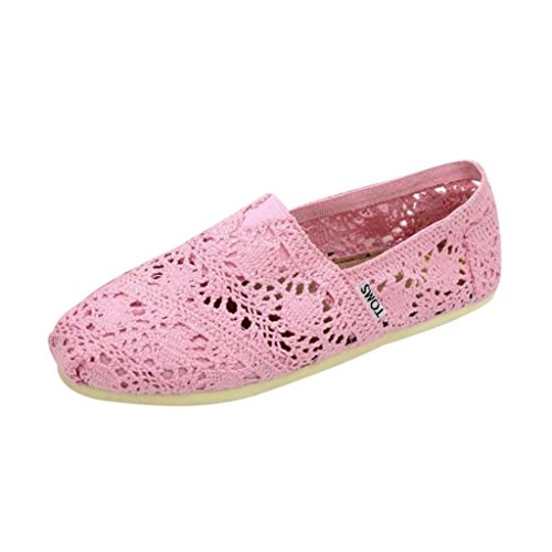 Maybest Women Comode Abbinabili Ballerine Di Balletto Con Lacci Vuoti Mocassini Floreali Slip-on Shoes Rosa