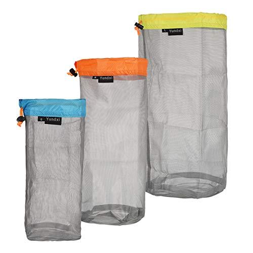 Yundxi Mesh Nylon Storage Bag Ultra Stuff Sacks Lightweight Bags Set with Drawstring for Camping Travel Hiking Surviving Outdoor Sports