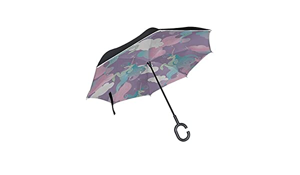 Double Layer Inverted Inverted Umbrella Is Light And Sturdy Cute Unicorns Magic Reverse Umbrella And Windproof Umbrella Edge Night Reflection