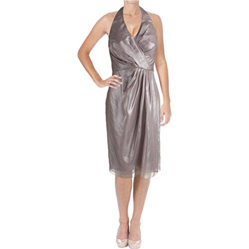 Vera Wang Women's Sleeveless Halter Cocktail Dress, Quartz, 14
