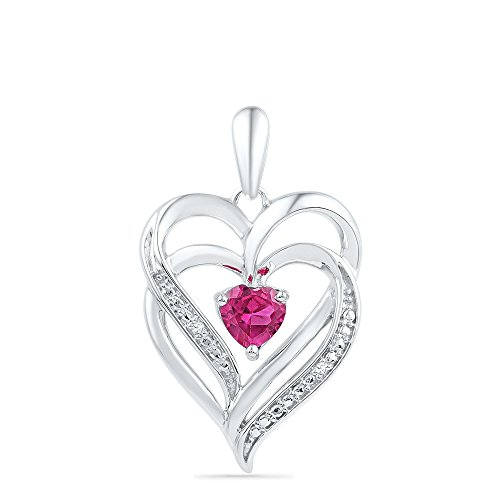 Solid 925 Sterling Silver Heart Round Pink and White Diamond Prong Set Halo Solitaire Pendant (.09 cttw)