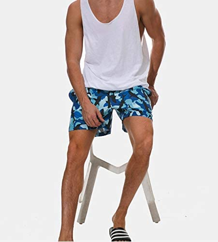 Mens Swim Trunks Haiti Flag with Forest Beach Board Shorts Quick Dry Sports Running Swim Board Shorts with Pockets Mesh Lining