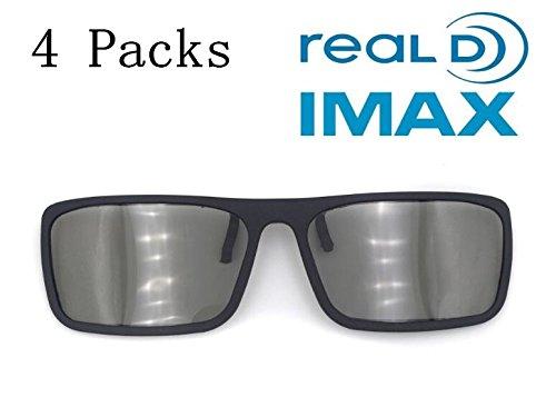 EKiimy 4 Packs Disposable 3D Glasses Passive Circular Polarized Clip On 3D Glasses For Reald IMAX LG SONY 3D TV & MasterImage Disney Digital Cinemas