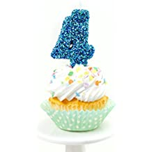 "Number Four (4) 3"" Coastal Sparkle Birthday or Anniversary Cake and Cupcake Candle (Four Birthday Candle)"