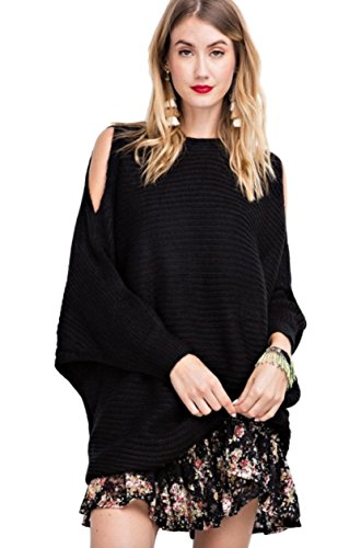 Easel Women's Solid Chunky Knit Oversized Pullover Cold Shoulder Split Sleeve Boatneck Sweater (Small/Medium, Black)