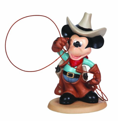 - Precious Moments, Disney Showcase Collection, Cowboy Mickey, Bisque Porcelain Figurine, 132708