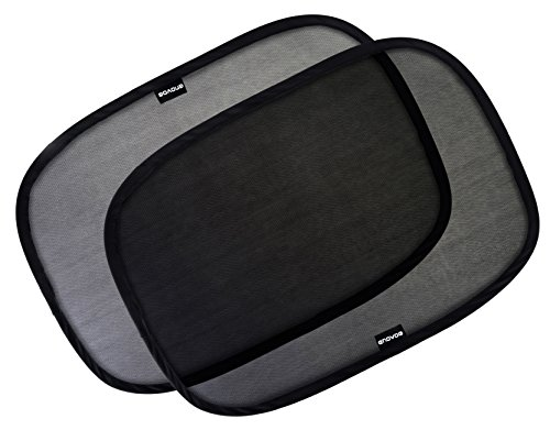 Enovoe Car Window Shade – (4 Pack) – 21″x14″ Cling Sunshade for Car Windows – Sun, Glare and UV Rays Protection for Your Child – Baby Side Window Car Sun Shades