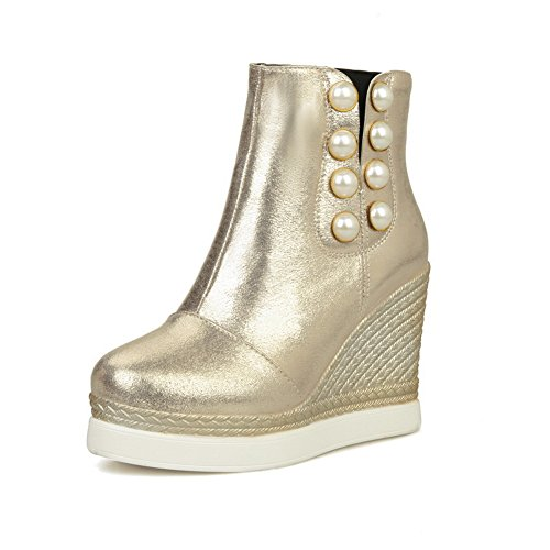 1TO9 Womens High-Heel Flatform Platform Novelty Urethane Rain Boots Gold