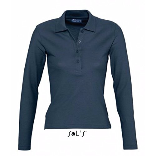Cotton Pique Jeans - SOL'S Womens/Ladies Podium Long Sleeve Pique Cotton Polo Shirt (M (8-10 US)) (Denim)