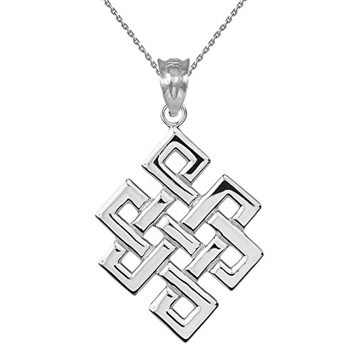 Fine Sterling Silver Japanese Endless Knot Pendant Necklace, 18
