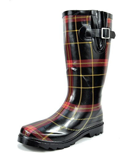 arctiv8 Women's Kam Red Plaid Rubber Knee High Winter Snow Rainboots - 10 M US (Snow Winter Rain Boots)