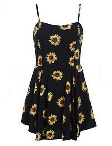PU&PU Robe Aux femmes Gaine Street Chic,Fleur A Bretelles Au dessus du genou Polyester , black-xl , black-xl