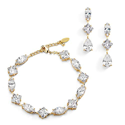 - Mariell Gold Zirconia Crystal Wedding Bracelet and Earrings Set for Women, Jewelry for Bride, Bridesmaid